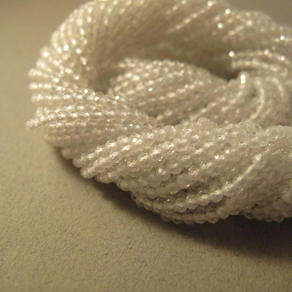 White Topaz Beads, Clear Gemstone Rounds, 2.2mm - 2.5mm, 6.5 Inch Strand of Natural Gemstone Beads, Jewelry Supplies (R-Wt1)
