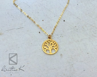 Tree of Life gold Necklace, Mothers Day Gift,  Layered Necklace, Long Gold Necklace, Gold Necklace, Gift for him, Gift for Her, Gold Charm