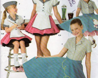 Simplicity 3836, Girls Poodle Skirt and Car Hop Halloween Costume, Sewing Pattern, Short Skirt and Hats, Sizes 3,4,5 and 6