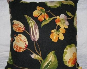 Black & Apricot Floral Pillow