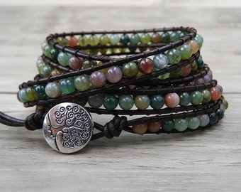 Leather Wrap bracelet India Agate bead bracelet women boho bead wrap bracelet leather bracelet gemstone bracelet natural stone Jewelry SL039