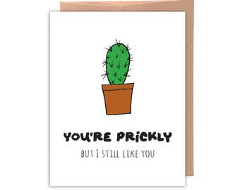 You're Prickly, Funny Greeting Card, Funny Card, Love Card, Relationship Card, Friend Card