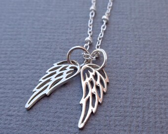 Angel Wings Necklace / Sterling Silver Wings Beaded Chain / Angel Silver Wings /Minimal Angel Necklace //SG6