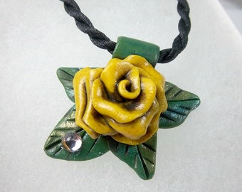 Yellow Rose Pendant, Antiqued Rose, Dew Drop, Polymer Clay, Yellow and Green