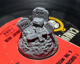 Creepy Cemetery 45  RPM Record adapter  2pc Set Grey/Glow
