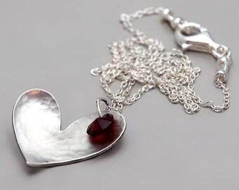 Sterling Silver Heart Necklace, Garnet Heart Necklace, Swarovski Heart Necklace, Boho Silver Necklace, Dainty Necklace, Large Heart Necklace