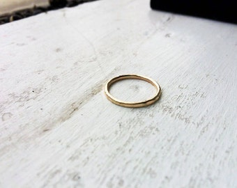14g Thick Hammered or Smooth 14k Gold Fill Stacking Ring - custom made to order