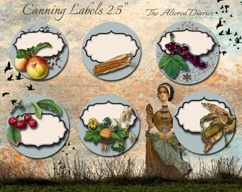 Preserve Labels, Rustic Canning Labels, 2.50 Inch Canning Labels, Rustic Jar Labels, Instant Download