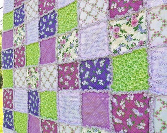 Lap Rag Quilt - Lap Quilt - Inspirational Words - Purple and Green Quilt - Purple Flowers and Polka Dots - Gift for Her