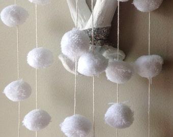"White Pom Pom garlands,  1""  cotton Pom Pom. Birthday Pom Pom Garland, Bridal shower garland, Baby shower garland."