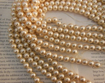 Sea shell pearl, milky white color, 8mm or 10mm, 15.5 inch