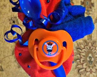 Blue and Orange Baby Shower Corsage