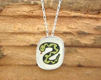 Friendly Rattlesnake Necklace - Sterling Silver and Vitreous Enamel Snake Pendant