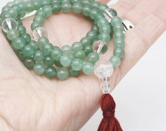 Small Green Aventurine Mala Necklace  -  6mm Green Aventurine Mala - Tibetan Buddhist Mala Prayer Beads