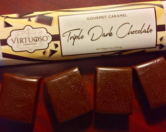 Triple Dark Chocolate: Gourmet Caramel Bar - 4oz (113g) | Chocolate Caramel | Gift