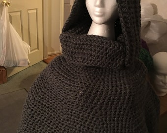Hooded cowl poncho
