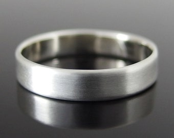 Flat Profile Sterling Silver Band Ring, Silver Wedding Band, Silver Wedding Ring, Sterling Silver Ring, Satin Finish