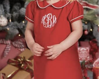 Red corduroy dress with monogram ~ Mudpie Christmas ~ Christmas dress with monogram ~ piped collar