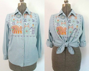 Tribal Embroidered Chambray Shirt Vintage 1980s Collared Long Sleeves Button Front