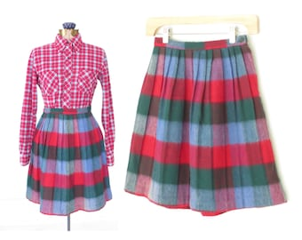 pleated mini skirt * 60s plaid schoolgirl skirt * fuzzy tartan skirt * xs