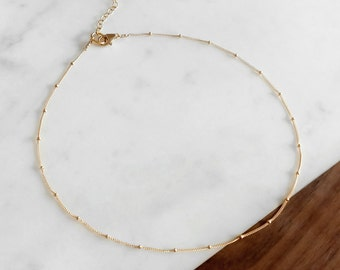 Gold Satellite Chain Choker Necklace - Delicate Gold Necklace, Layering Necklace, Simple Chain Necklace, Short Necklace, Gifts for Her