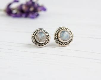 Sterling Silver and Rainbow Moonstone Stud Earrings - Handmade Moonstone Earrings - Monnstone Studs