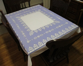 Vintage Blue and White Floral Print Rectangle Tablecloth Cover Kitchen Dining