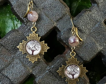 Tree of Life Charoite Gemstone Earrings, Tree of Life Dangle Leverbacks, Lead and Nickel Free Bronze, Earthy, Very Trendy! Gifts for Her