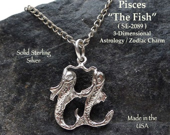 Sterling Silver Pisces Charm, .925 Silver Fish Zodiac Jewelry, 3-Dimensional Astrology Jewelry, Pisces Necklace