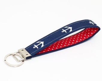 Nautical Key Fob, Fabric Keychain Wristlet, Blue Key Holder, OOAK Key Lanyard - white anchors in navy blue with red and white polka dots