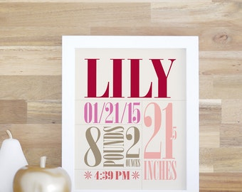 Baby Name Print, Birth Details Sign, Birth Announcement, Red, Strawberry, Baby Gift, Nursery Art, Baby Poster. Custom Birth Print