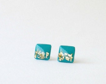 Turquoise blue gold stud earrings-  Delicate square posts