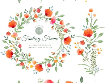 Fantasy frame, watercolor clipart's, hand painted 18 clipart's without background, 18 png files - 300 dpi
