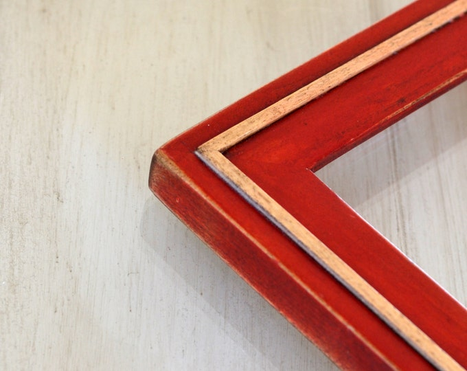 Vintage Color of Your Choice in Wood Wedge Style - Choose your small frame size:  3x3, 2x6, 3.5x5, 4x5, 4x6, 5x7, 5x5, 6x6, 6x8, 7x7, 4x10