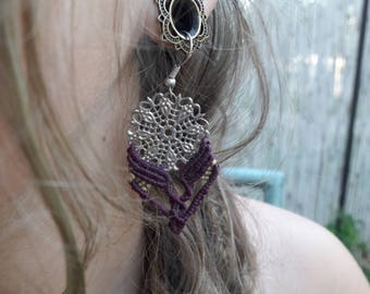 Chic Macrame Earrings, Classic, Silver And Purple With A Touch Of Yellow