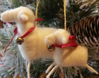 Christmas Ornament, Felted Sheep & Lamb, Handmade, White Sheep, Ribbons. Bells.