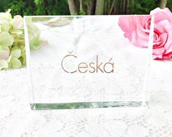 Česká Crystal Advertising Sign: Česká Store Plaque, Česká Display Stand, Česká Crystal Sign
