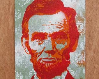 Abraham Lincoln Multilayer Graffiti Stencil Art on Canvas Board 8x10