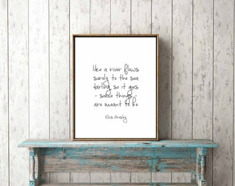 DIGITAL PRINT - like a river flows surely to the sea, elvis - lyrics, black and white, wall art, home decor, positive, love, romantic, song