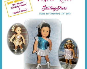 """Triple Axel Skating Dress Pattern for 18"""" doll such as the American Girl brand doll"""