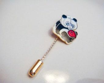 Cute Panda Stick Pin Gold Toned Vintage