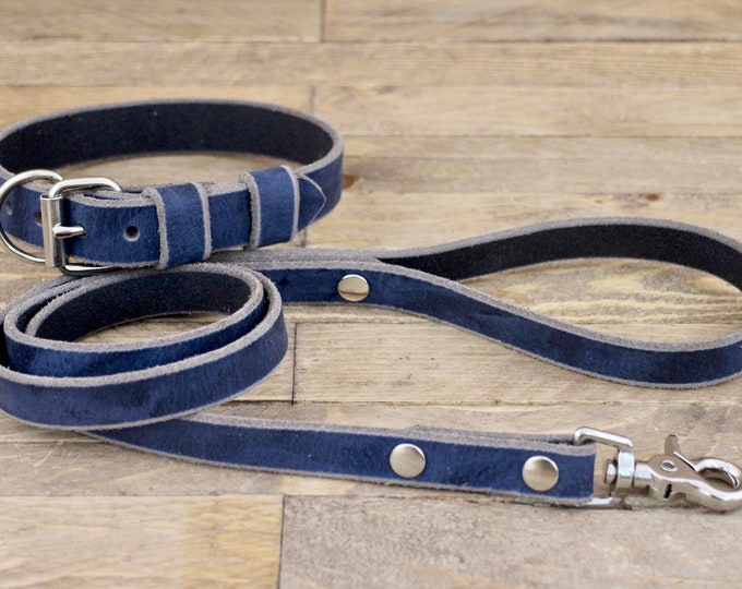 Dog collar and leash, Broken blue colour, FREE ID TAG, Silver hardware, Collar and leash set, Dog lead, Leather collar, Handmade collar.