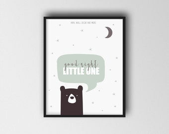 Good Night Little One- Good Night, Moon and Stars; Children's Print