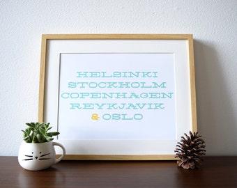 Nordic Capitals: a modern design print // typography poster // Scandinavia poster // 8.5x11, 13x19 // Scandinavian modern
