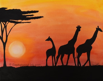 Giraffe #1 Art Print Watercolor, family sunset bedtime, 8x10