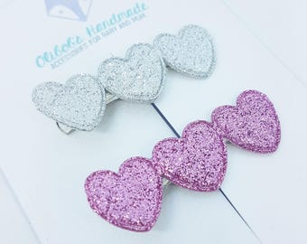 Love Heart Clips | Valentines Hair Clips | Pink Clips | Silver Hair Slides | Heart Clips