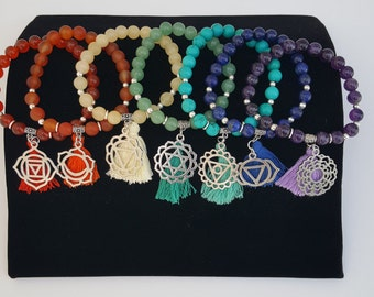 Chakra Healing Bracelets, Chakra Bracelets, Balancing, Chakra Jewelry, Root, Sacral, Solar Plexus, Heart, Throat, Brow, Crown Chakras