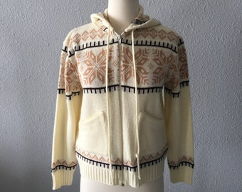 Vintage Boho Hooded Zippered Cardigan by St. Michael