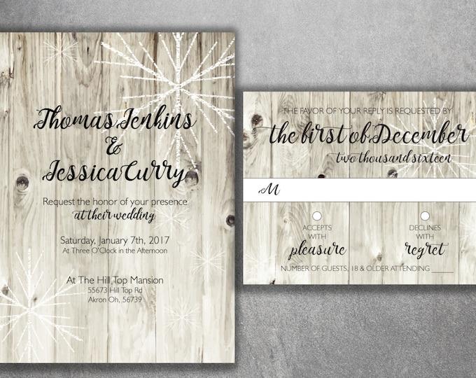 Rustic Winter Wedding Invitations, Snow Wedding Invitation, Rustic, Tree, Wood, Kraft, Snowflakes, Barn Wood Invite, Christmas Themed Invite
