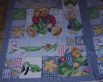 1 Yard Blue Jean Teddy Cotton Fabric Panel Blankie Bear BTY